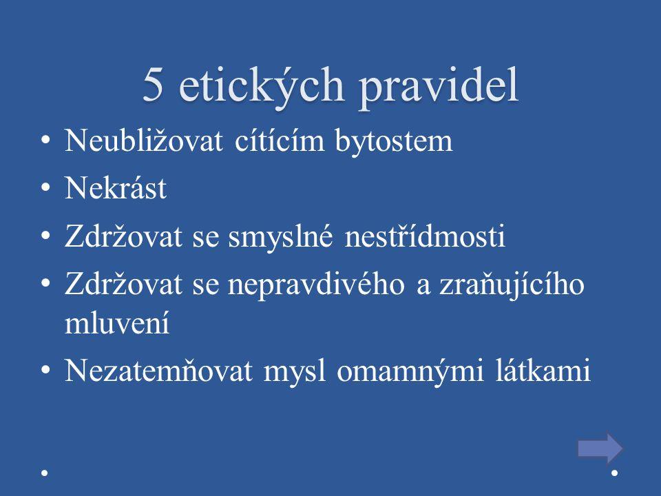 5 etických pravidel Neubližovat cítícím bytostem Nekrást Zdržovat se smyslné nestřídmosti Zdržovat se nepravdivého a zraňujícího mluvení Nezatemňovat mysl omamnými látkami