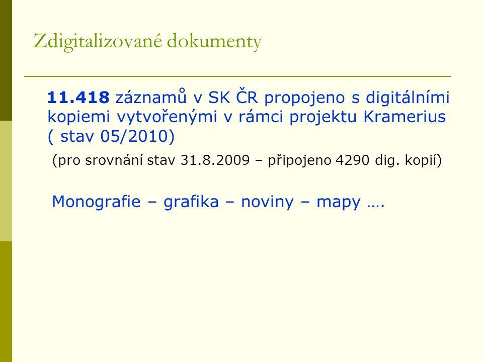 Zdigitalizované dokumenty 11.418 záznamů v SK ČR propojeno s digitálními kopiemi vytvořenými v rámci projektu Kramerius ( stav 05/2010) (pro srovnání stav 31.8.2009 – připojeno 4290 dig.