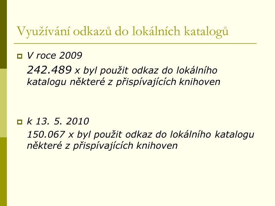 Využívání odkazů do lokálních katalogů  V roce 2009 242.489 x byl použit odkaz do lokálního katalogu některé z přispívajících knihoven  k 13.