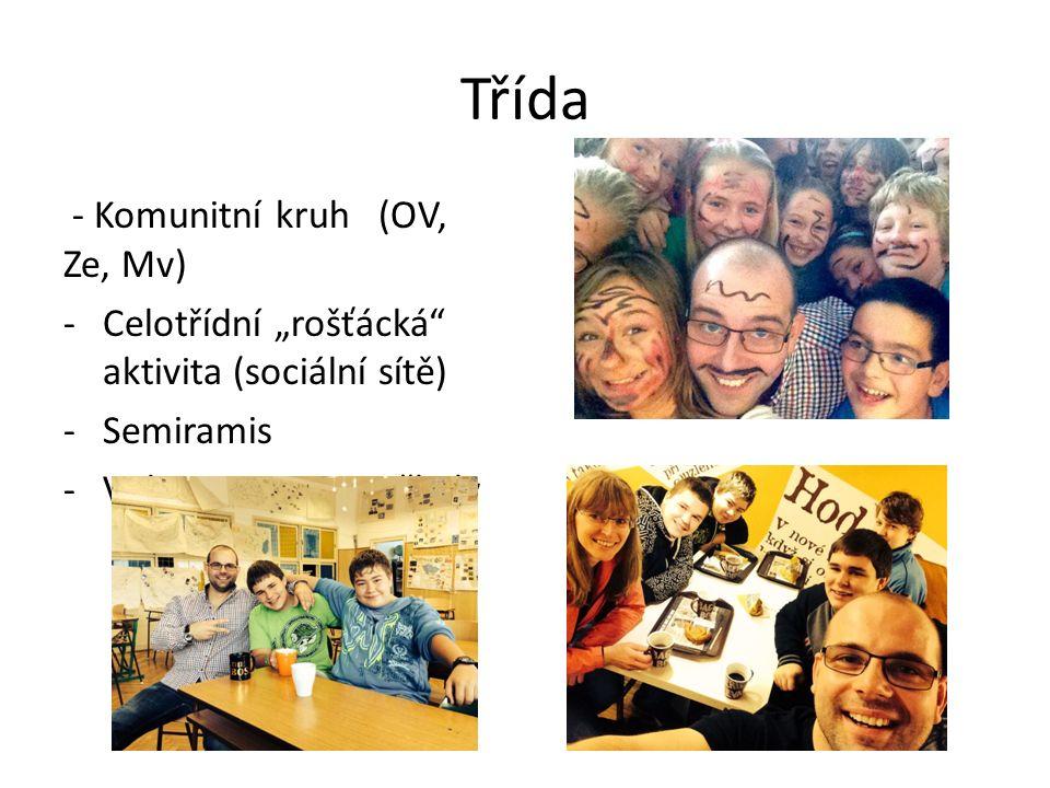 """Třída - Komunitní kruh (OV, Ze, Mv) -Celotřídní """"rošťácká aktivita (sociální sítě) -Semiramis -Video prezentace školy"""