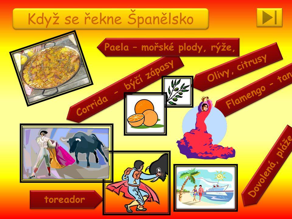 Když se řekne Španělsko Corrida – býčí zápasy Dovolená, pláže Flamengo - tanec Paela – mořské plody, rýže, toreador Olivy, citrusy