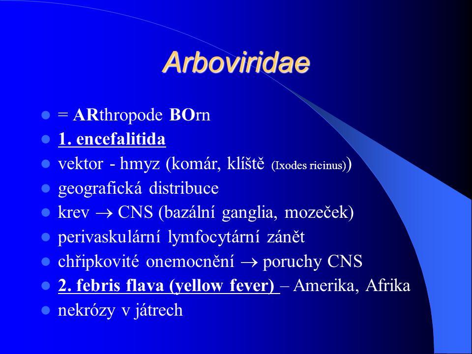 Arboviridae = ARthropode BOrn 1. encefalitida vektor - hmyz (komár, klíště (Ixodes ricinus) ) geografická distribuce krev  CNS (bazální ganglia, moze