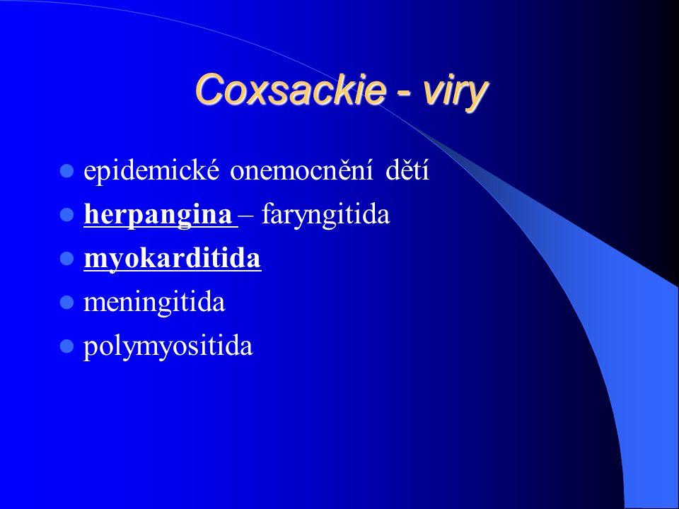 Coxsackie - viry epidemické onemocnění dětí herpangina – faryngitida myokarditida meningitida polymyositida