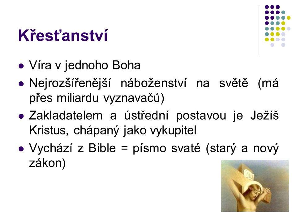 Víra v jednoho Boha Nejrozšířenější náboženství na světě (má přes miliardu vyznavačů) Zakladatelem a ústřední postavou je Ježíš Kristus, chápaný jako vykupitel Vychází z Bible = písmo svaté (starý a nový zákon)