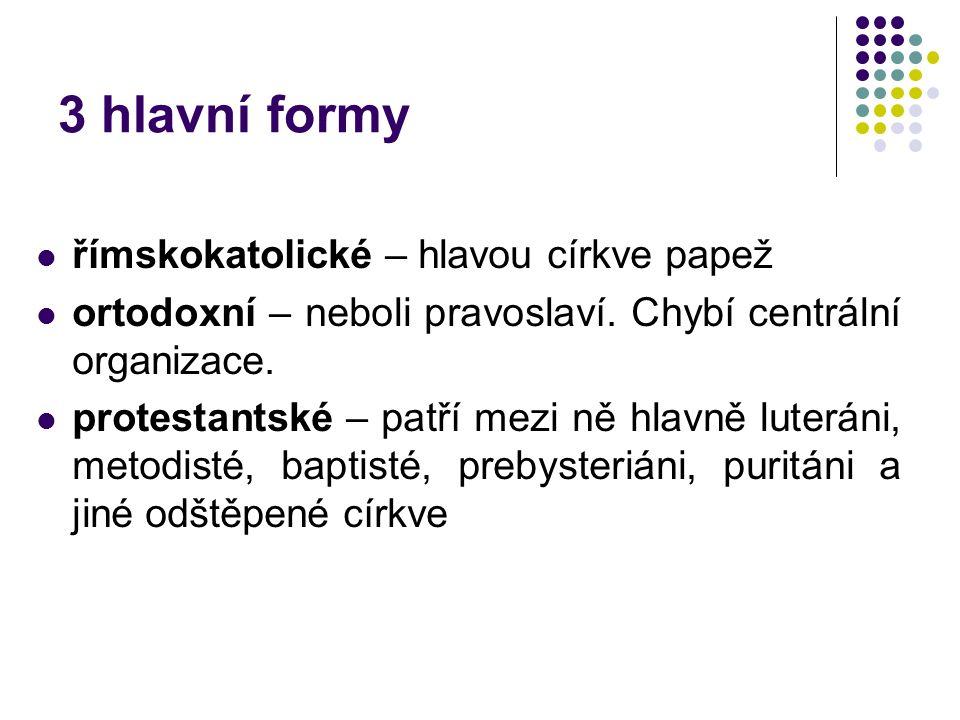 3 hlavní formy římskokatolické – hlavou církve papež ortodoxní – neboli pravoslaví. Chybí centrální organizace. protestantské – patří mezi ně hlavně l