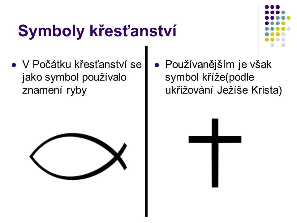Symboly křesťanství V Počátku křesťanství se jako symbol používalo znamení ryby Používanějším je však symbol kříže(podle ukřižování Ježíše Krista)