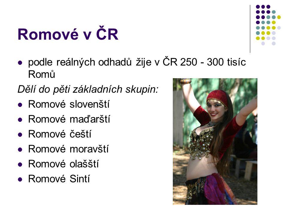 Romové v ČR podle reálných odhadů žije v ČR 250 - 300 tisíc Romů Dělí do pěti základních skupin: Romové slovenští Romové maďarští Romové čeští Romové moravští Romové olašští Romové Sintí