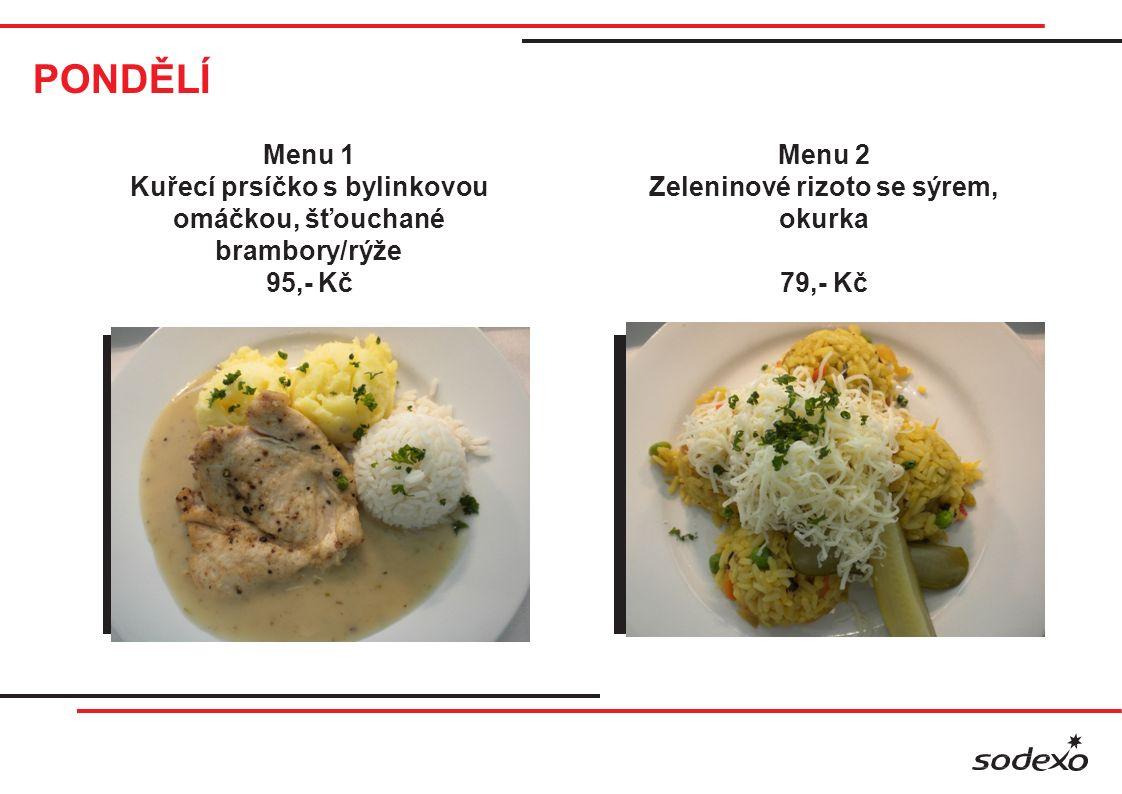 PONDĚLÍ Menu 4 Pikantní krůtí prsíčka s teplou zeleninou, pečené brambory 119,- Kč Menu 5 Špagety Carbonara 95,- Kč