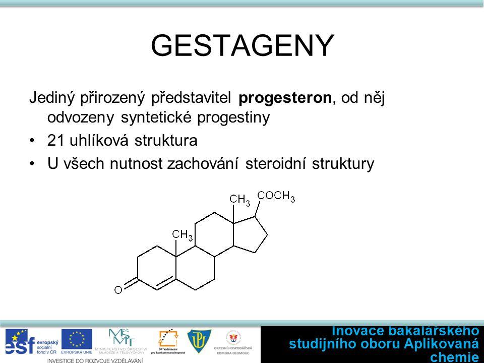 GESTAGENY Jediný přirozený představitel progesteron, od něj odvozeny syntetické progestiny 21 uhlíková struktura U všech nutnost zachování steroidní struktury Inovace bakalářského studijního oboru Aplikovaná chemie