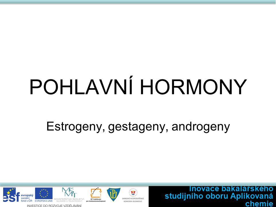 POHLAVNÍ HORMONY Estrogeny, gestageny, androgeny Inovace bakalářského studijního oboru Aplikovaná chemie