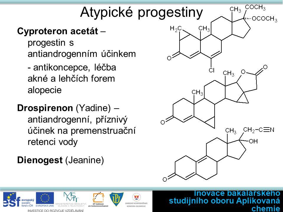 Atypické progestiny Cyproteron acetát – progestin s antiandrogenním účinkem - antikoncepce, léčba akné a lehčích forem alopecie Drospirenon (Yadine) – antiandrogenní, příznivý účinek na premenstruační retenci vody Dienogest (Jeanine) Inovace bakalářského studijního oboru Aplikovaná chemie