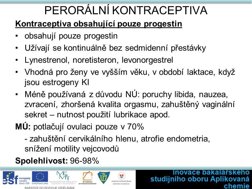 PERORÁLNÍ KONTRACEPTIVA Kontraceptiva obsahující pouze progestin obsahují pouze progestin Užívají se kontinuálně bez sedmidenní přestávky Lynestrenol, noretisteron, levonorgestrel Vhodná pro ženy ve vyšším věku, v období laktace, když jsou estrogeny KI Méně používaná z důvodu NÚ: poruchy libida, nauzea, zvracení, zhoršená kvalita orgasmu, zahuštěný vaginální sekret – nutnost použití lubrikace apod.