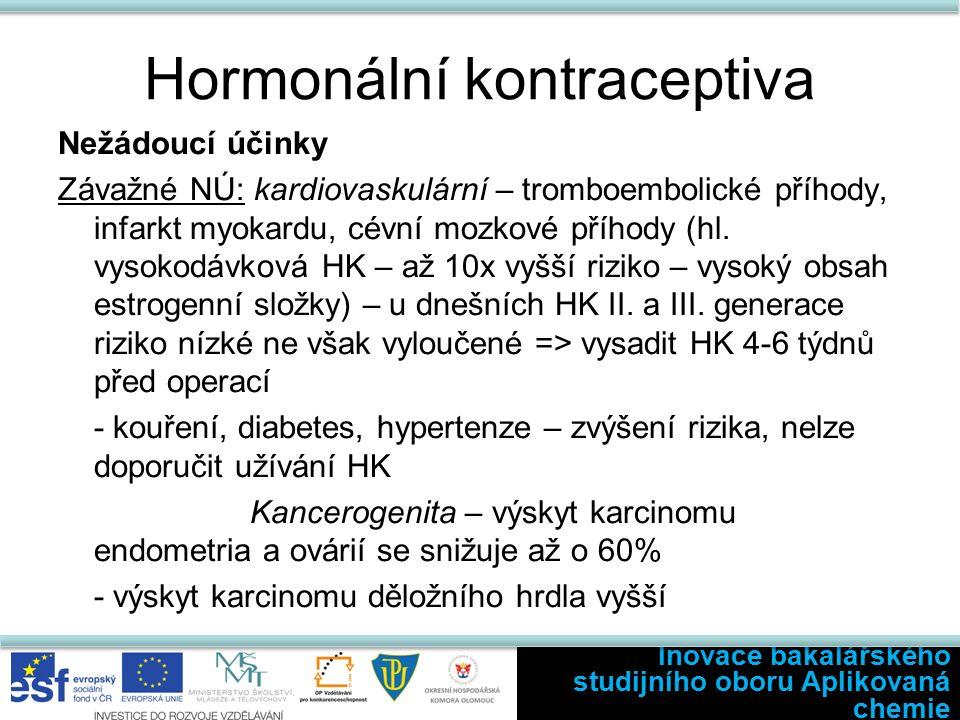Hormonální kontraceptiva Nežádoucí účinky Závažné NÚ: kardiovaskulární – tromboembolické příhody, infarkt myokardu, cévní mozkové příhody (hl.