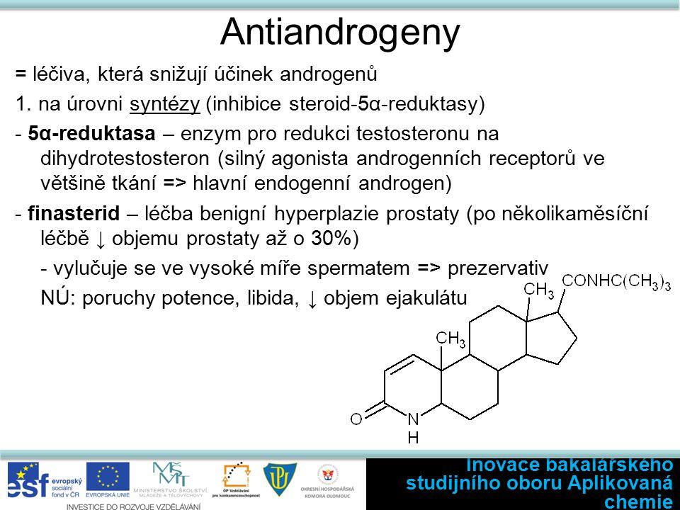 Antiandrogeny = léčiva, která snižují účinek androgenů 1.
