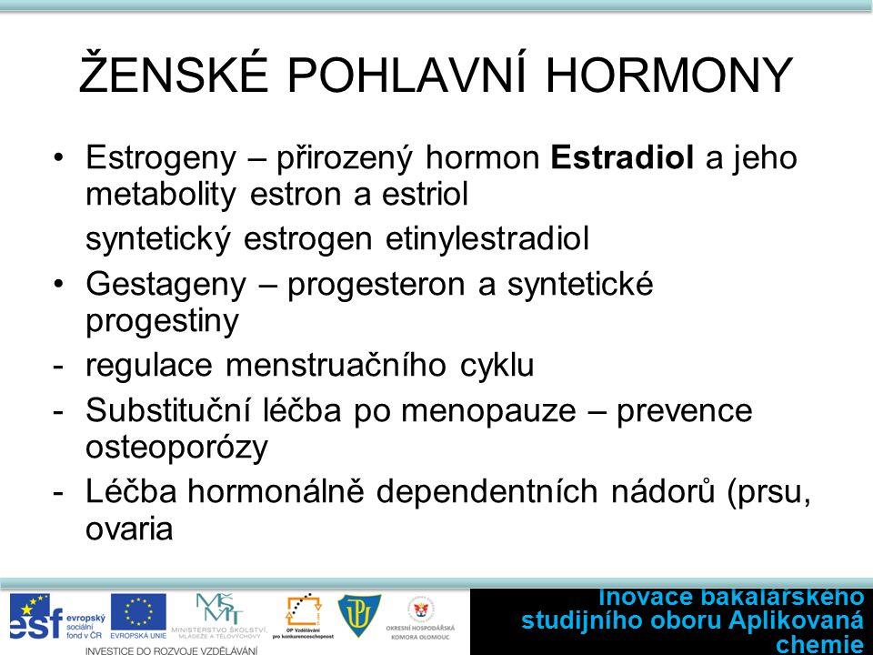 ŽENSKÉ POHLAVNÍ HORMONY Estrogeny – přirozený hormon Estradiol a jeho metabolity estron a estriol syntetický estrogen etinylestradiol Gestageny – progesteron a syntetické progestiny -regulace menstruačního cyklu -Substituční léčba po menopauze – prevence osteoporózy -Léčba hormonálně dependentních nádorů (prsu, ovaria Inovace bakalářského studijního oboru Aplikovaná chemie