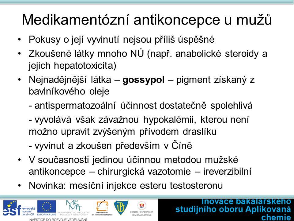 Medikamentózní antikoncepce u mužů Pokusy o její vyvinutí nejsou příliš úspěšné Zkoušené látky mnoho NÚ (např.