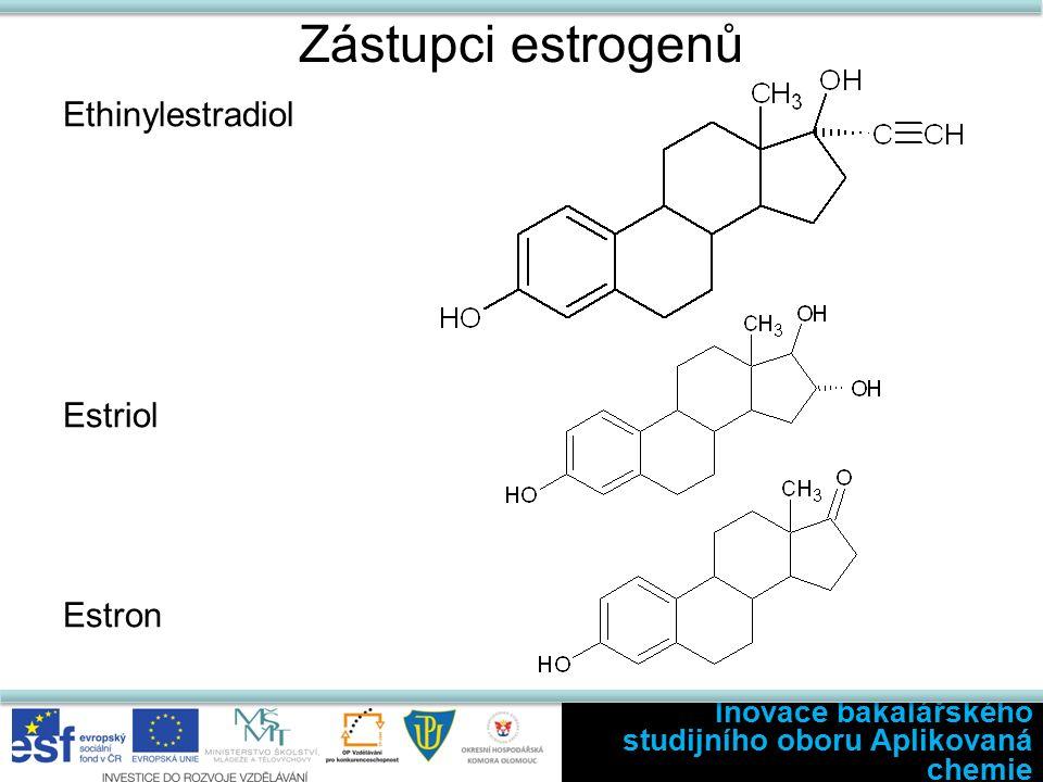 Zástupci estrogenů Ethinylestradiol Estriol Estron Inovace bakalářského studijního oboru Aplikovaná chemie