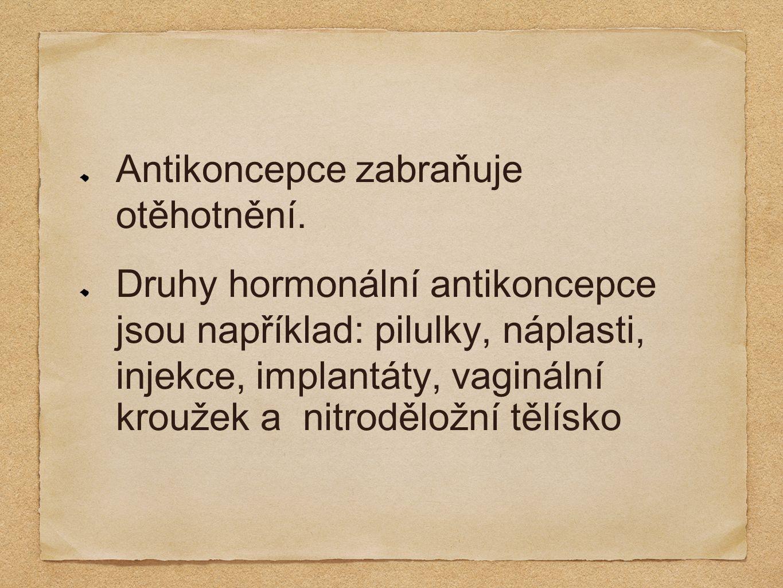 Antikoncepce zabraňuje otěhotnění. Druhy hormonální antikoncepce jsou například: pilulky, náplasti, injekce, implantáty, vaginální kroužek a nitrodělo