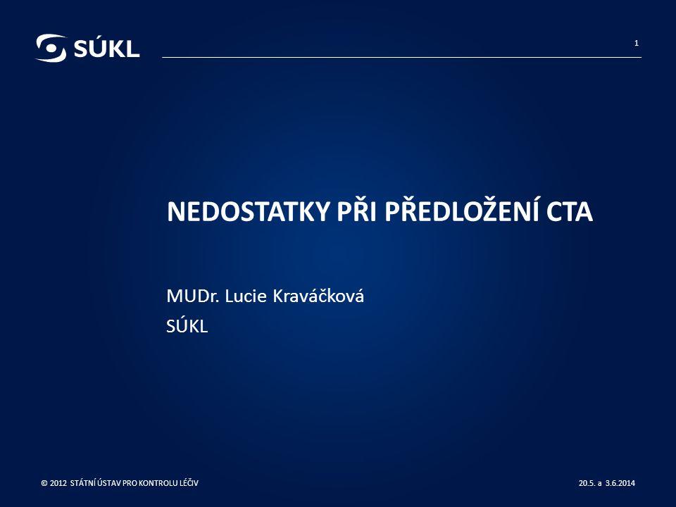 NEDOSTATKY PŘI PŘEDLOŽENÍ CTA MUDr. Lucie Kraváčková SÚKL 20.5.