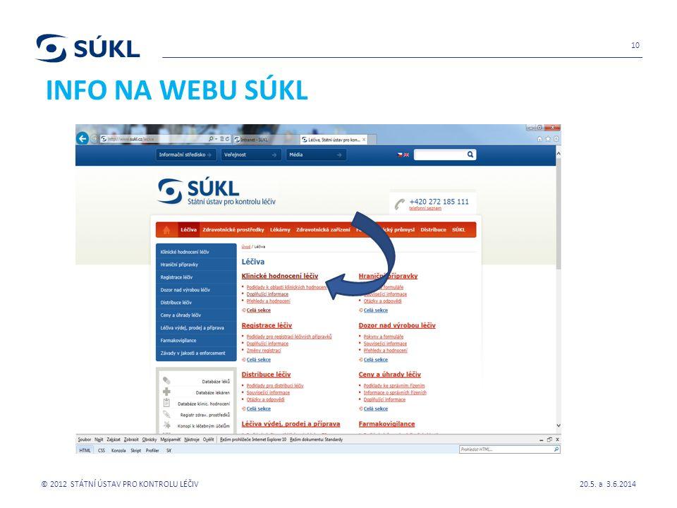 INFO NA WEBU SÚKL 20.5. a 3.6.2014 © 2012 STÁTNÍ ÚSTAV PRO KONTROLU LÉČIV 10