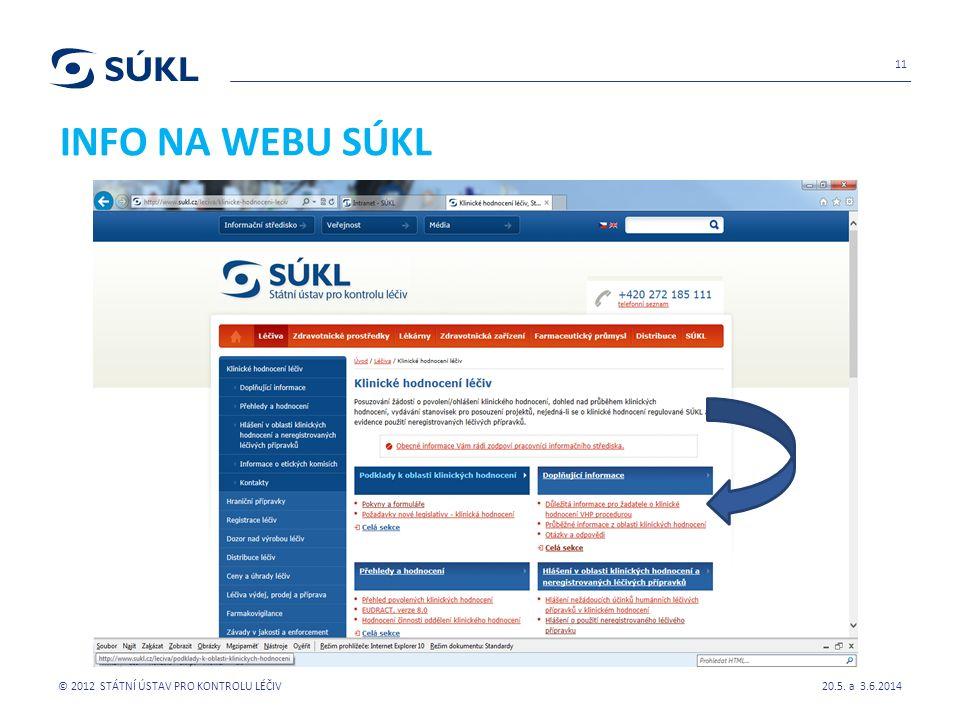 INFO NA WEBU SÚKL 20.5. a 3.6.2014 © 2012 STÁTNÍ ÚSTAV PRO KONTROLU LÉČIV 11