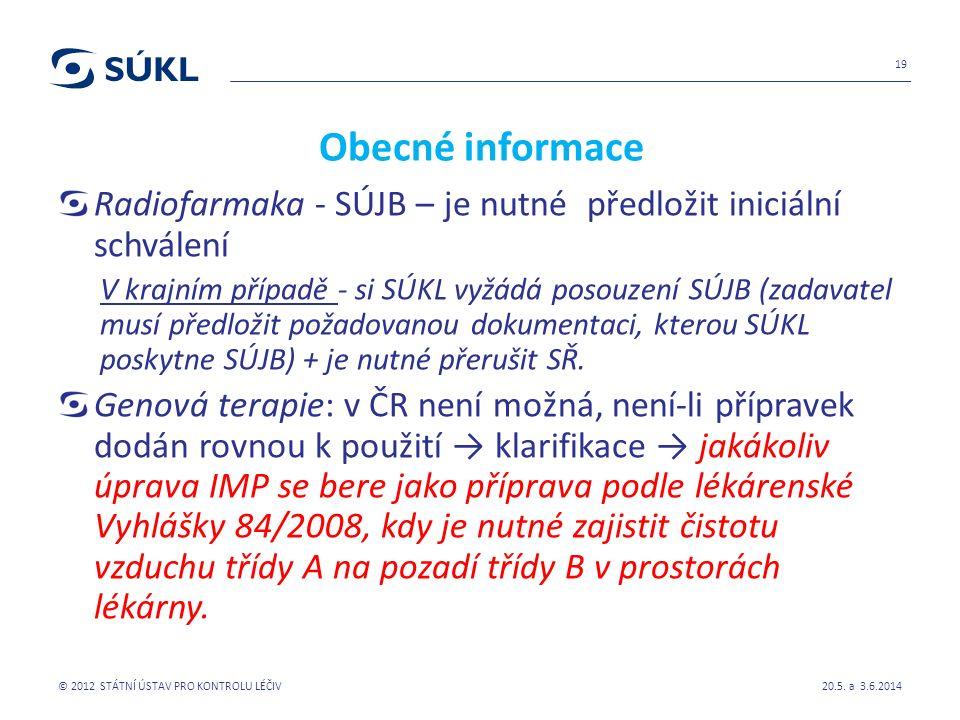 Obecné informace Radiofarmaka - SÚJB – je nutné předložit iniciální schválení V krajním případě - si SÚKL vyžádá posouzení SÚJB (zadavatel musí předložit požadovanou dokumentaci, kterou SÚKL poskytne SÚJB) + je nutné přerušit SŘ.