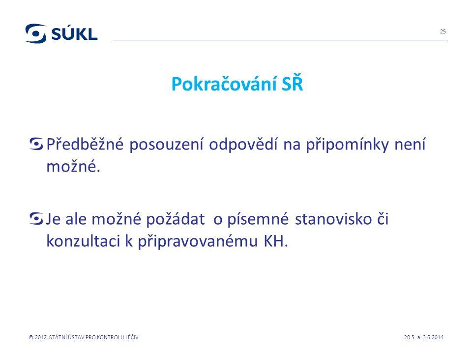 Pokračování SŘ Předběžné posouzení odpovědí na připomínky není možné.