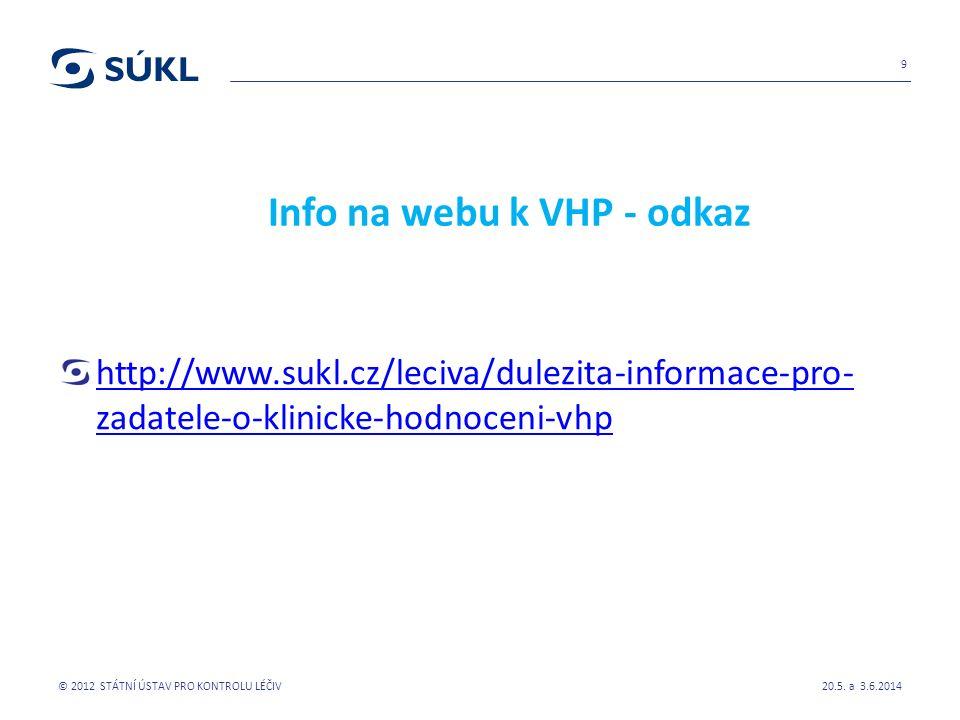 Info na webu k VHP - odkaz http://www.sukl.cz/leciva/dulezita-informace-pro- zadatele-o-klinicke-hodnoceni-vhp 20.5.