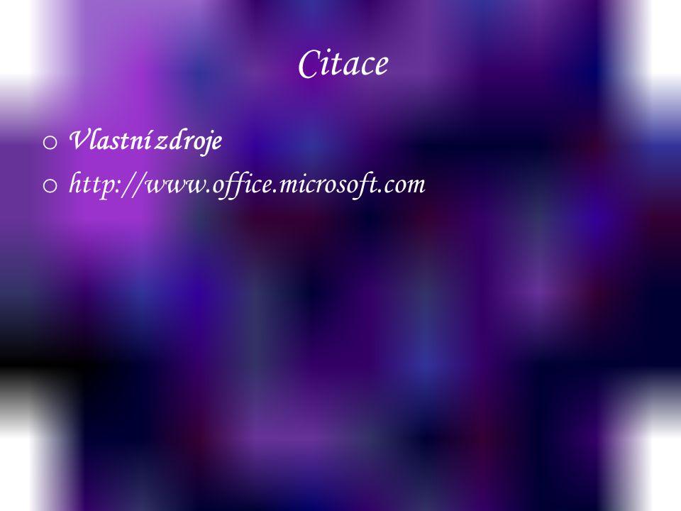 Citace o Vlastní zdroje o http://www.office.microsoft.com