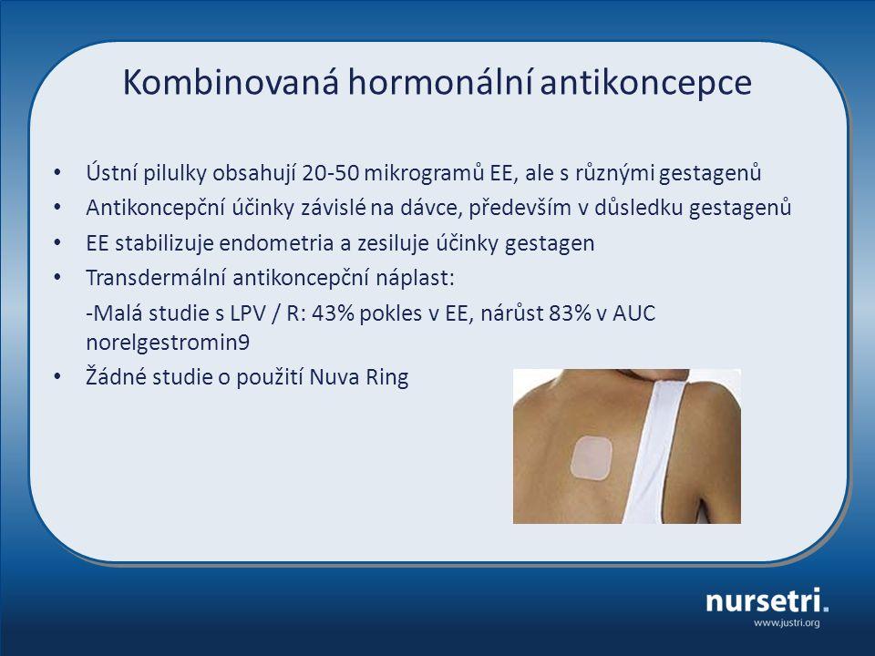 Kombinovaná hormonální antikoncepce Ústní pilulky obsahují 20-50 mikrogramů EE, ale s různými gestagenů Antikoncepční účinky závislé na dávce, především v důsledku gestagenů EE stabilizuje endometria a zesiluje účinky gestagen Transdermální antikoncepční náplast: -Malá studie s LPV / R: 43% pokles v EE, nárůst 83% v AUC norelgestromin9 Žádné studie o použití Nuva Ring