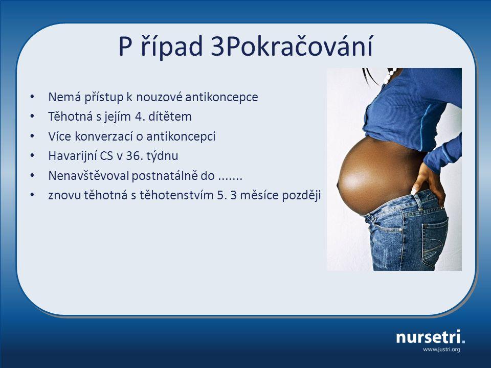 P řípad 3Pokračování Nemá přístup k nouzové antikoncepce Těhotná s jejím 4.