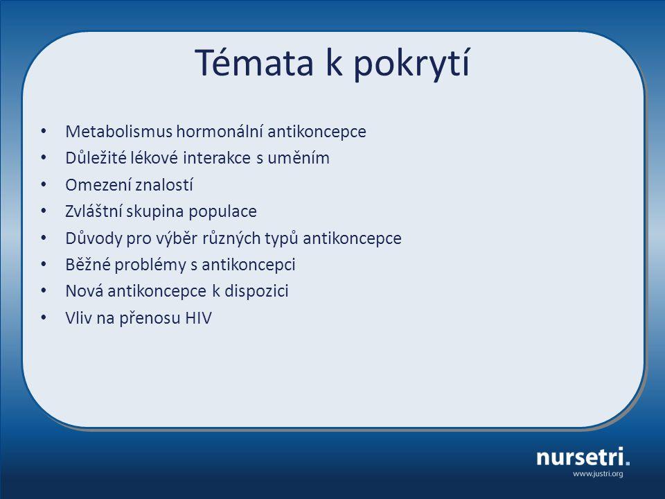 Témata k pokrytí Metabolismus hormonální antikoncepce Důležité lékové interakce s uměním Omezení znalostí Zvláštní skupina populace Důvody pro výběr různých typů antikoncepce Běžné problémy s antikoncepci Nová antikoncepce k dispozici Vliv na přenosu HIV