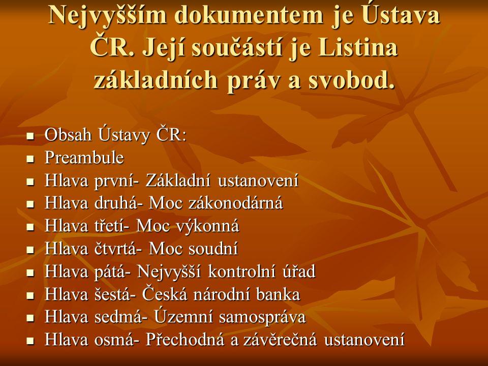 Nejvyšším dokumentem je Ústava ČR.Její součástí je Listina základních práv a svobod.