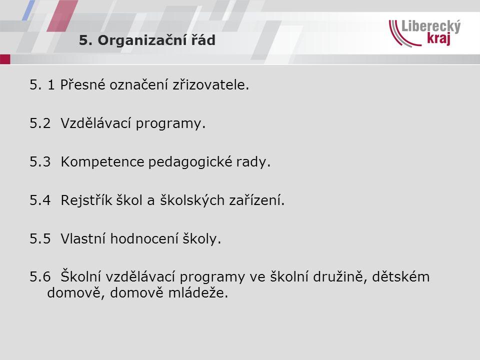 5. Organizační řád 5. 1 Přesné označení zřizovatele.