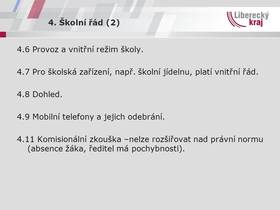4. Školní řád (2) 4.6 Provoz a vnitřní režim školy.