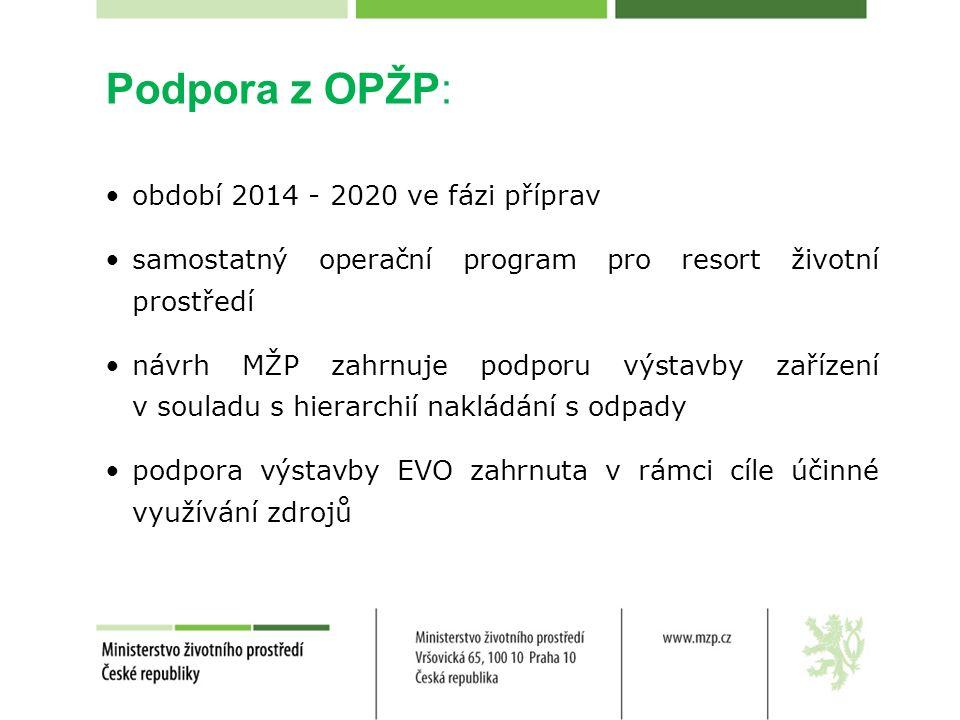 Podpora z OPŽP: období 2014 - 2020 ve fázi příprav samostatný operační program pro resort životní prostředí návrh MŽP zahrnuje podporu výstavby zařízení v souladu s hierarchií nakládání s odpady podpora výstavby EVO zahrnuta v rámci cíle účinné využívání zdrojů