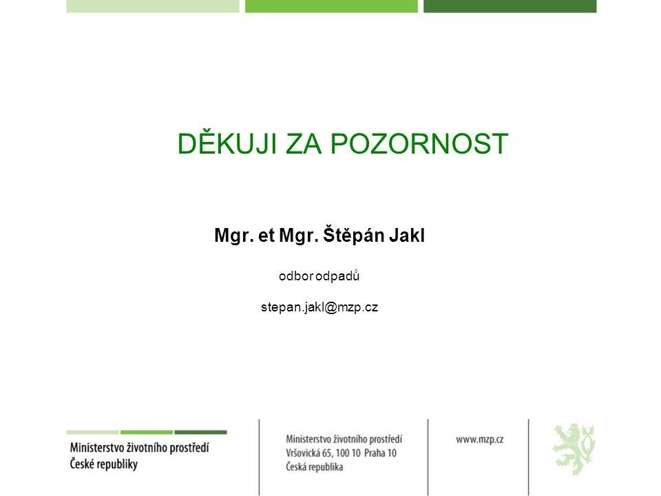 DĚKUJI ZA POZORNOST Mgr. et Mgr. Štěpán Jakl odbor odpadů stepan.jakl@mzp.cz