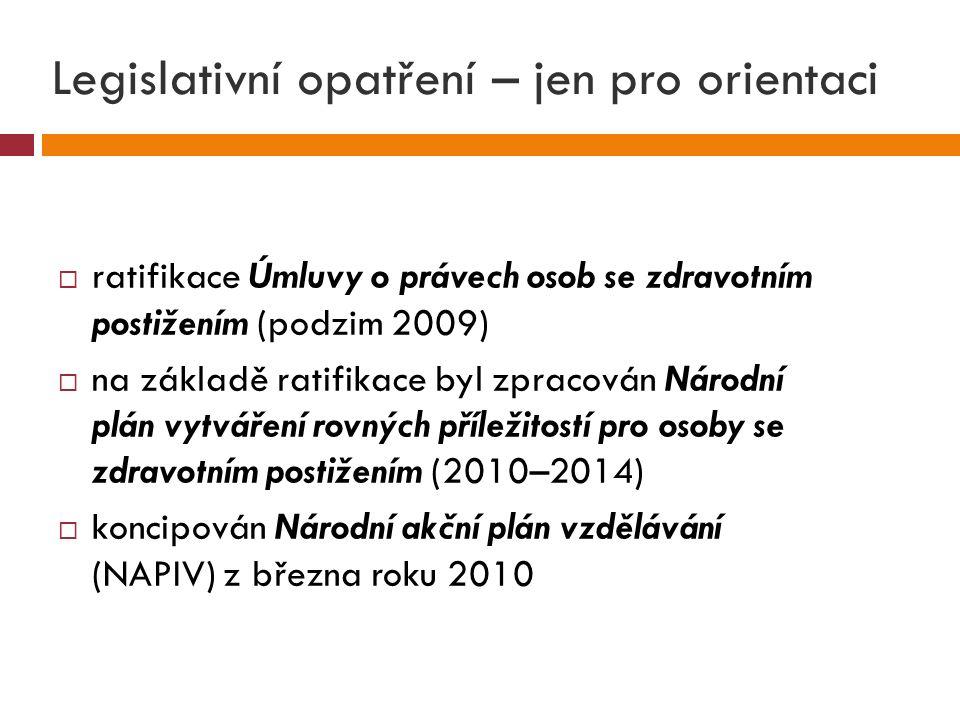 Legislativní opatření – jen pro orientaci  ratifikace Úmluvy o právech osob se zdravotním postižením (podzim 2009)  na základě ratifikace byl zpracován Národní plán vytváření rovných příležitostí pro osoby se zdravotním postižením (2010–2014)  koncipován Národní akční plán vzdělávání (NAPIV) z března roku 2010