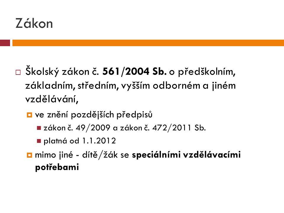 Zákon  Školský zákon č. 561/2004 Sb.