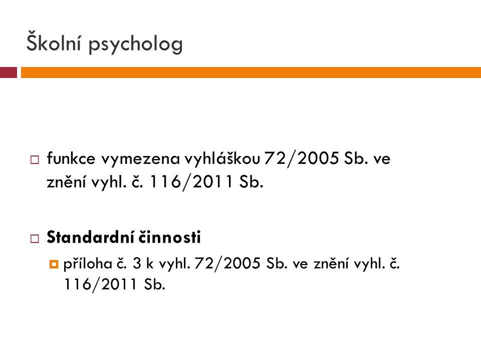 Školní psycholog  funkce vymezena vyhláškou 72/2005 Sb.