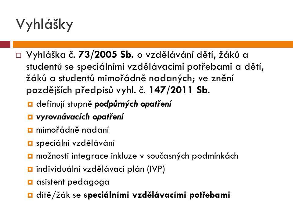 Vyhlášky  Vyhláška č.73/2005 Sb.