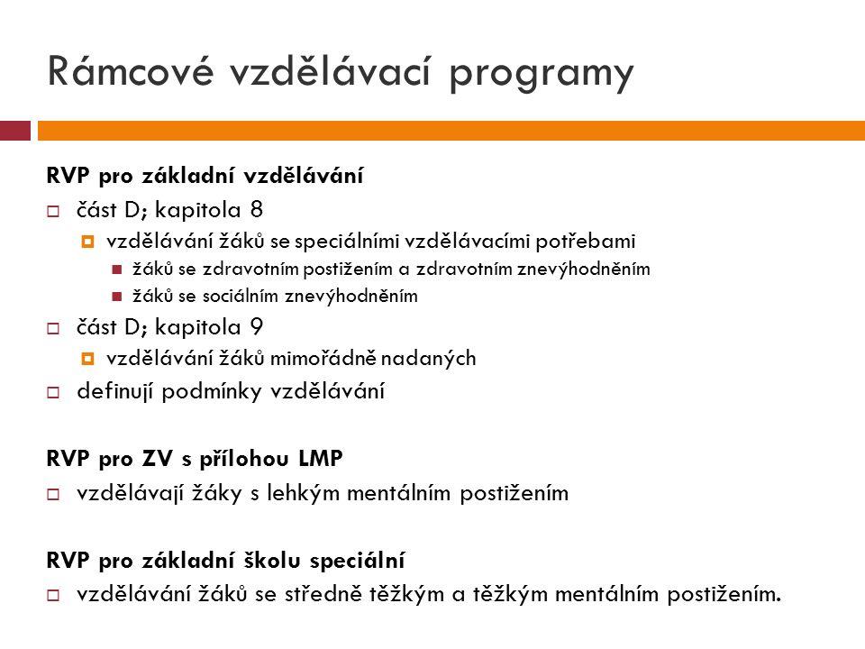 Rámcové vzdělávací programy RVP pro základní vzdělávání  část D; kapitola 8  vzdělávání žáků se speciálními vzdělávacími potřebami žáků se zdravotním postižením a zdravotním znevýhodněním žáků se sociálním znevýhodněním  část D; kapitola 9  vzdělávání žáků mimořádně nadaných  definují podmínky vzdělávání RVP pro ZV s přílohou LMP  vzdělávají žáky s lehkým mentálním postižením RVP pro základní školu speciální  vzdělávání žáků se středně těžkým a těžkým mentálním postižením.
