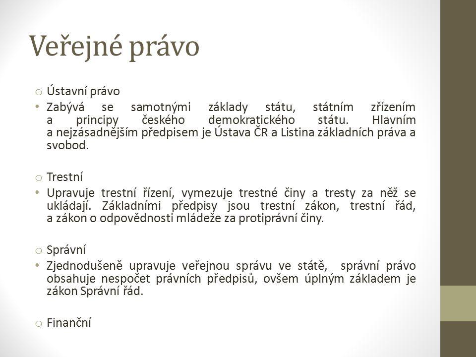 Veřejné právo o Ústavní právo Zabývá se samotnými základy státu, státním zřízením a principy českého demokratického státu.