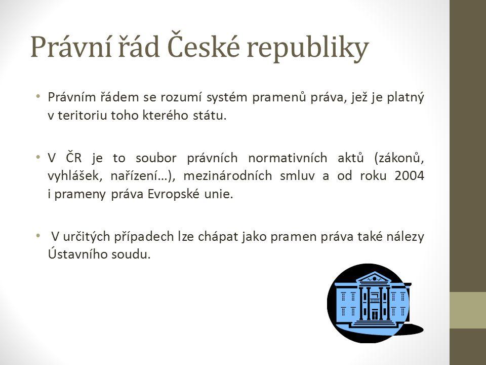 Právní řád České republiky Právním řádem se rozumí systém pramenů práva, jež je platný v teritoriu toho kterého státu.