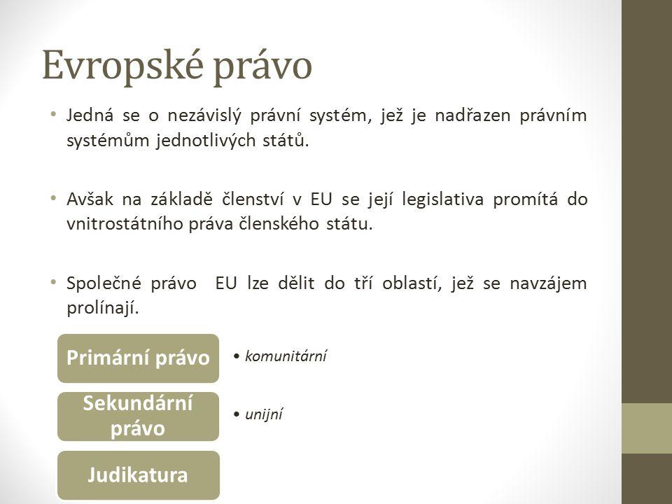 Evropské právo Jedná se o nezávislý právní systém, jež je nadřazen právním systémům jednotlivých států.