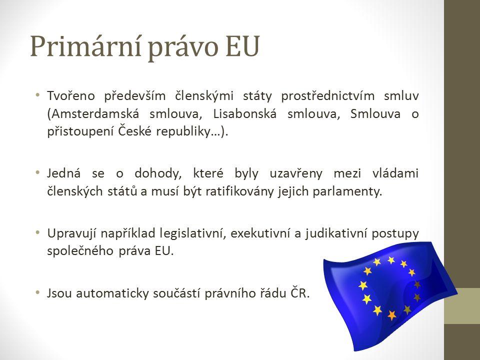 Primární právo EU Tvořeno především členskými státy prostřednictvím smluv (Amsterdamská smlouva, Lisabonská smlouva, Smlouva o přistoupení České republiky…).