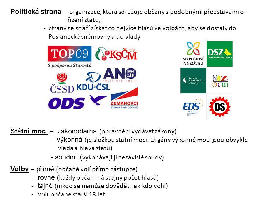 Politická strana – organizace, která sdružuje občany s podobnými představami o řízení státu, - strany se snaží získat co nejvíce hlasů ve volbách, aby