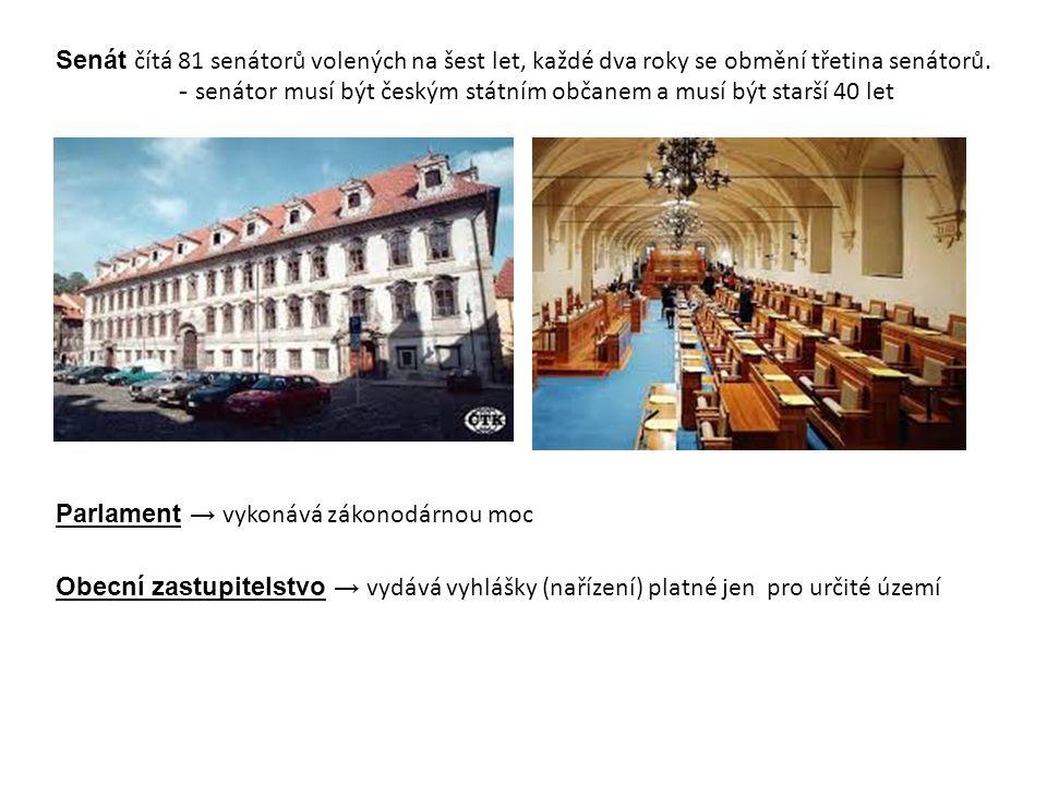 Senát čítá 81 senátorů volených na šest let, každé dva roky se obmění třetina senátorů. - senátor musí být českým státním občanem a musí být starší 40