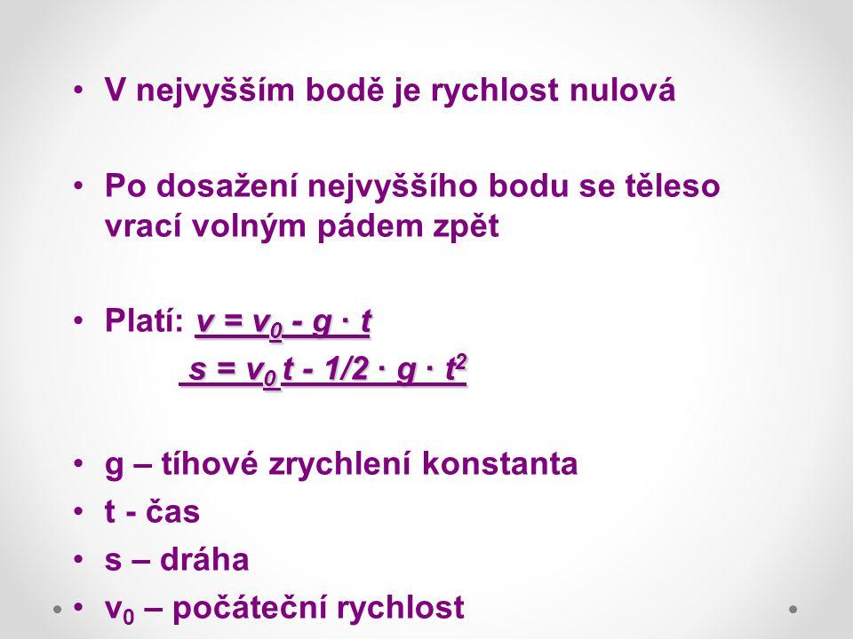 V nejvyšším bodě je rychlost nulová Po dosažení nejvyššího bodu se těleso vrací volným pádem zpět v = v 0 - g · tPlatí: v = v 0 - g · t s = v 0 t - 1/
