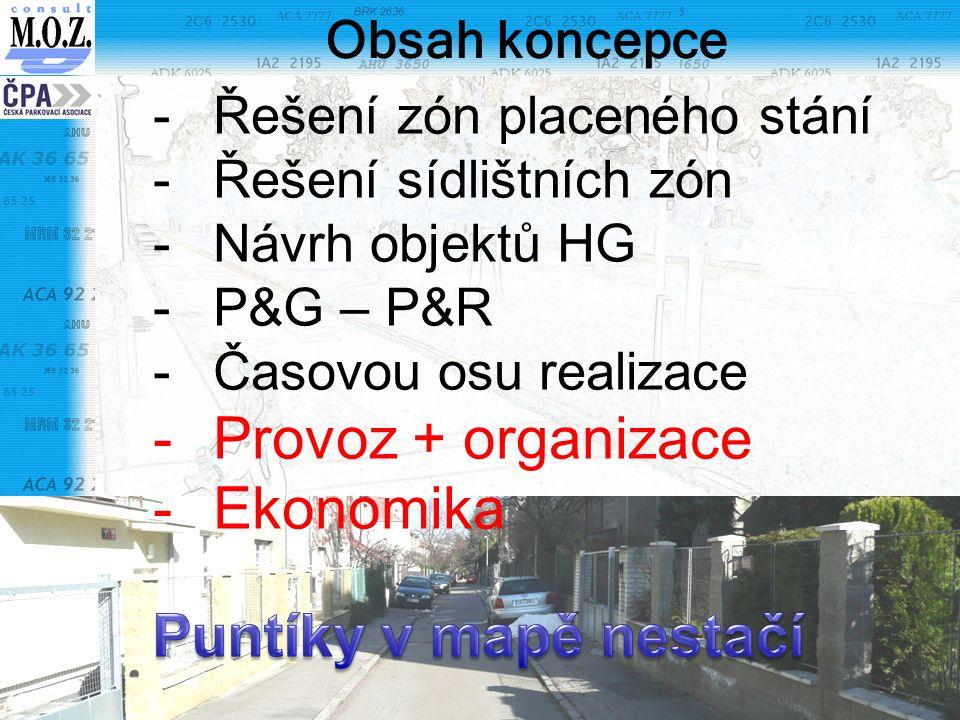 Obsah koncepce -Řešení zón placeného stání -Řešení sídlištních zón -Návrh objektů HG -P&G – P&R -Časovou osu realizace -Provoz + organizace -Ekonomika